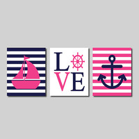 Nautical Coral Navy Wall Art Sailboat Love Captains Wheel Anchor Set of 3 Prints Girl Boy Nursery Kids Bathroom Bedroom Decor Picture
