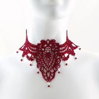 Deep Red Lace Choker with Ruby Beads Dangles - Bridal, Wedding, Gothic, Victorian, Vampire, Romantic