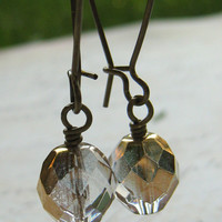 Gold Crystal Earrings Gold Earrings Gold Glass by leprintemps