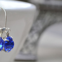 Sapphire Blue Swarovski Earrings SilverTone Lever by leprintemps