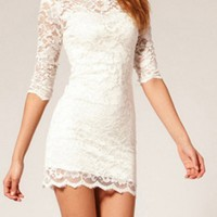White Sexy Hollow Slim Lace Dress