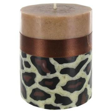 """3"""" x 4"""" Leopard Pillar Candle with Brown Ribbon   Shop Hobby Lobby"""