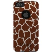 CUSTOM OtterBox Commuter Series Case for iPhone 5 5S - Brown Beige Tan Giraffe Skin Spots Print Pattern
