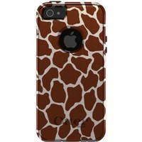 CUSTOM OtterBox Commuter Series Case for iPhone 5 - Brown Beige Tan Giraffe Skin Spots Print Pattern