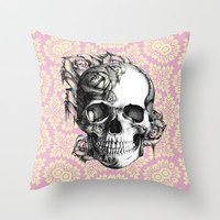 Retro Rose skull in vintage springtime pink and yellow color palette.  Throw Pillow by Kristy Patterson Design