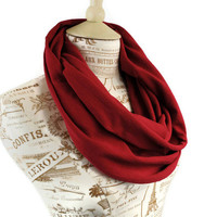 Burgundy Infinity Scarf Cranberry Circle Red