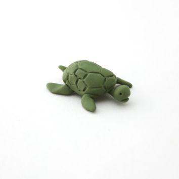 miniature turtle totem polymer clay figurine pocket totem