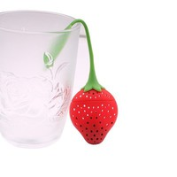 Cute Fantastic Strawberry Design Silicone Tea Infuser Strainer Teapot Teacup