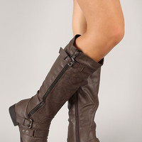 Land-2 Round Toe Buckle Strap Knee High Boot