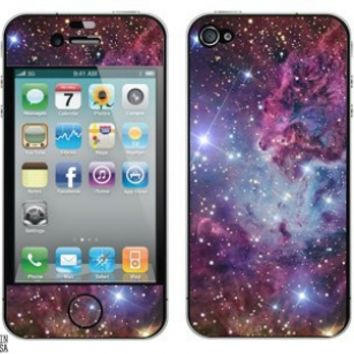 Fox Fur Nebula - Galaxy Space - Protective Skin Sticker for Apple iPhone 4 4S - Set of 2:Amazon:Cell Phones & Accessories