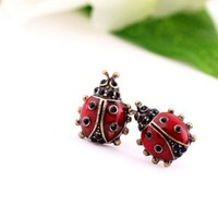 Retro Red Ladybug Stud Earrings