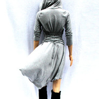 Dress /Hoodies / High Low Dress / Low High Dress / Hoodies for Women / Grey Dress / Lace Up Dress / Casual Dress