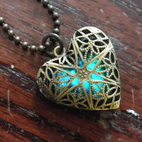 """Glow In The Dark """"You Are My Universe"""" Galaxy Heart Shaped Locket Necklace"""