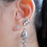 Silver Jellyfish Ear Cuff