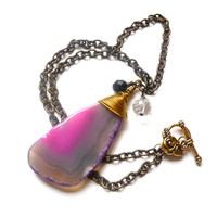 Purple Agate Slice Bronze Necklace, Huge Stone Slab Pendant