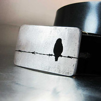 Barbed Wire Bird Belt Buckle