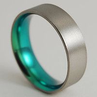 Mens Titanium Ring Apollo Band in Immortal Green with Comfort Fit