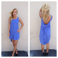 Periwinkle Sleeveless Bow Back Dress