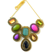 Colorful Gold Bib Necklace