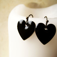 Black Heart Silver Plated Earrings by PiggleAndPop