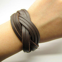 Brown Soft Leather Woven Women's Leather Cuff by braceletcool