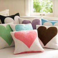 Fuzzy Heart Pillow Cover | PBteen