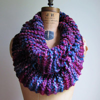 Big Chunky Knit cowl Purple. Navy Blue. Sky Blue.