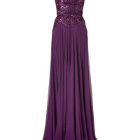 Elie Saab - Pansy Purple Sequined Silk Gown