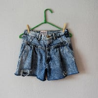 vintage 1980s high waisted ACID WASH shorts by vintagemarmalade