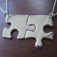 Two Edge Puzzle Pieces Silver Pendant by GorjessJewellery on Etsy