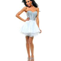 White & Silver Strapless Sequin Tulle Tutu Cocktail Dress - Unique Vintage - Prom dresses, retro dresses, retro swimsuits.