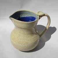 Large Pitcher - Ceramic, Speckled Tan and Blue