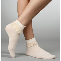 Beige Ruffled Ankle Socks