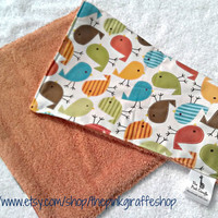Urban Zoology Birds Burp Cloth by thepinkgiraffeshop on Etsy