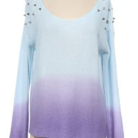 Ombre Studded Sweater Purple Blue