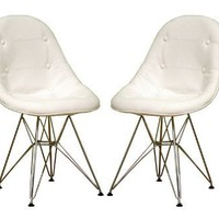 Set of 2 Leather Accent Side Dining Chairs - White Finish