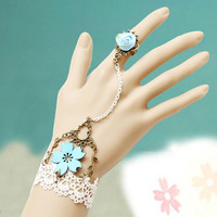 Vintage Lace Flower Bracelet Rose Ring