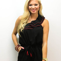 MACA Clothe · Black Romper with Red Trim