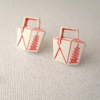 chinese takeout earrings by addieladawn on Etsy