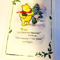 Classic Pooh and Piglet Vintage Christmas Tree Card