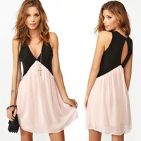 Contrast color stitching on the back hollow out chiffon vest dress827
