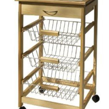 Organize It All Providence Kitchen Cart with Baskets (34123W)