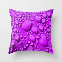 Water Drops Purple Throw Pillow by Alice Gosling