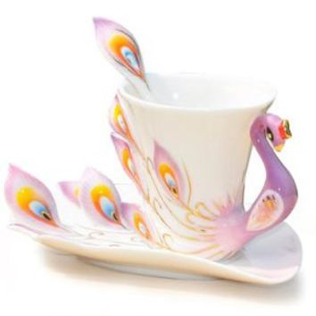 DUSIEC Collectable Fine Arts China Porcelain Tea Cup and Saucer Coffee Cup Peacock Theme Romantic Creative Present (Purple)