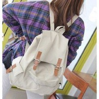 Amazon.com: Off-white Canvas Backpack Schoolbag Super Cute for School: Computers &amp; Accessories