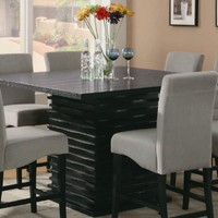 Counter Height Dining Table in Rich Black Tone Finish