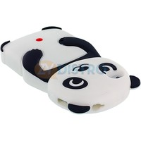 Black White 3D Panda Bear Silicone Soft Skin Case Cover for Apple iPhone 4 4G 4S