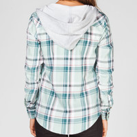 Ali & Kris Womens Hooded Flannel Shirt Green Combo  In Sizes