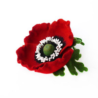 Felt brooch flower hot red poppy with green leaves hand-dyed ready to ship