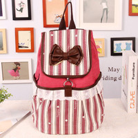 Fashion Bowknot Striped Lace Backpack-red